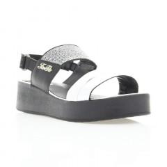 Босоножки женские серебряные/черные, кожа (3019 срібна Шк) Roma style