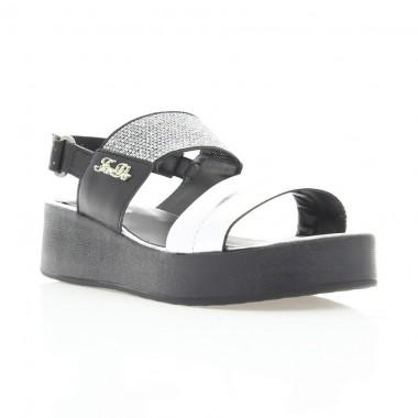 Купити Босоніжки жіночі срібні/чорні, шкіра (3019 срібна Шк) Roma style за найкращими цінами