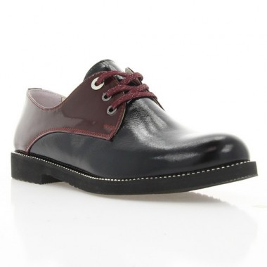 Туфли женские черные/бордовые, лакированная кожа (3023 чорн. Лк_бордо) Roma style