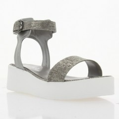 Босоножки женские серебряные, кожа (3024 срібна Шк Репт) Roma style