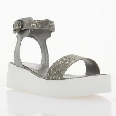 Купить Босоножки женские серебряные, кожа (3024 срібна Шк Репт) Roma style по лучшим ценам