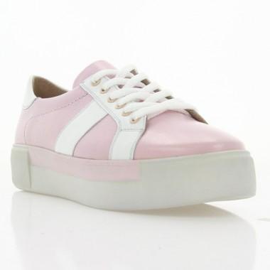 Кеди жіночі рожеві/білі, шкіра (3025 рож. Шк_біла вст) Roma style