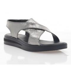 Босоножки женские темно серебряные, кожа (3031 тем.срібн. Шк) Roma style
