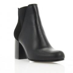 Ботинки женские черные, кожа/велюр (3050 чн. Шк (байка)) Roma style