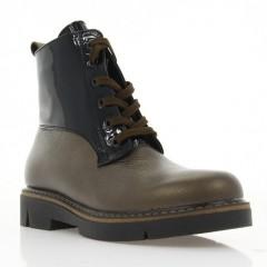 Ботинки женские бронзовые/черные, кожа/лакированная кожа (3052 бронз. Фл (байка)) Roma style