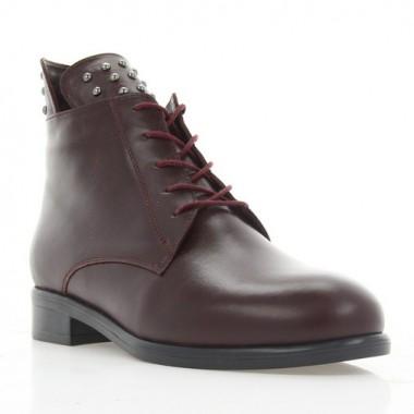 Купить Ботинки женские бордовые, кожа (3055 борд. Шк (шерсть)) Roma style по лучшим ценам