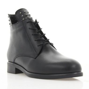 Ботинки женские черные, кожа (3055 чн. Шк (шерсть)) Roma style