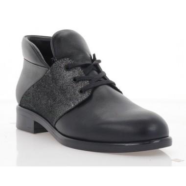 Ботинки женские черные/серебряные, кожа (3057-19 чн. Шк_сріб (байка)) Roma style