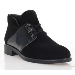 Ботинки женские черные, велюр/лакированная кожа (3057-19 чн. Вл+Лк (байка)) Roma style