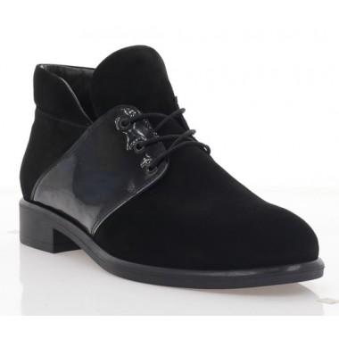 Купить Ботинки женские черные, велюр/лакированная кожа (3057-19 чн. Вл+Лк (байка)) Roma style по лучшим ценам