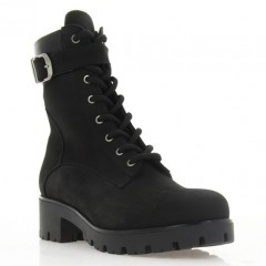 Ботинки женские черные, нубук (3058 чн. Нб (шерсть)) Roma style