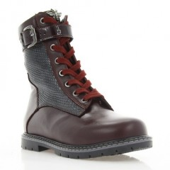 Ботинки детские бордовые, кожа (3058 M борд. Шк (шерсть)) Roma style