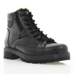 Ботинки женские черные, кожа (3062 чн. Шк (шерсть)) Roma style