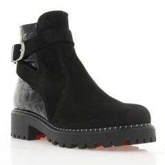 Ботинки женские черные, нубук/ акированная кожа (3063 чн. Нб+Лк (шерсть)) Roma style