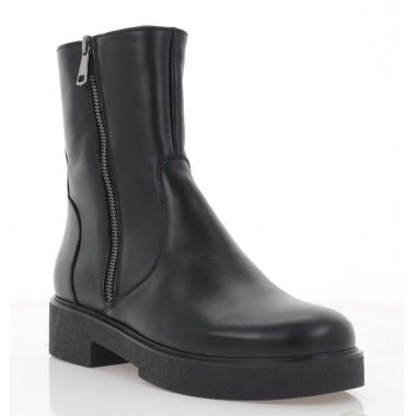 Ботинки женские черные, кожа (3064-20 чн. Шк (шерсть)) Roma style