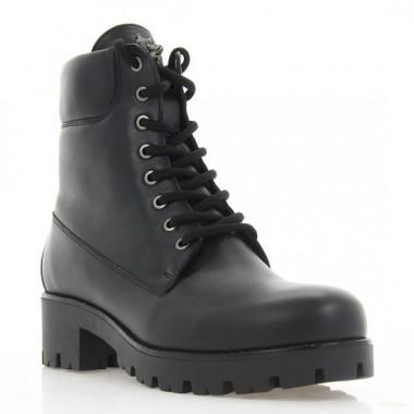 Ботинки женские черные, кожа (3067 чн. Шк (шерсть)) Roma style