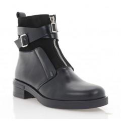 Ботинки женские черные, кожа/нубук (3069-20 чн. Шк (шер)) Roma style