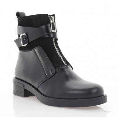 Ботинки женские черные, кожа (3069-20 чн. Шк (байка)) Roma style