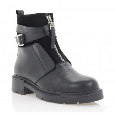 Ботинки женские черные, кожа / замша (3069-21 чн. Шк (шерсть)) Roma style