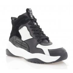 Кросівки жіночі чорні/білі, шкіра (3072-20 чн+біл. Шк (байка)) Roma style