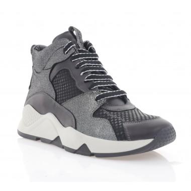 Кросівки жіночі чорні/срібні, шкіра (3072-20 чн. Шк_срібн (байка)) Roma style