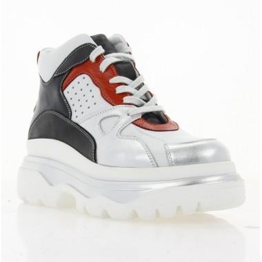 Ботинки женские белые/серебряные/красные/синие, кожа (3072 біло/срібн Шк (байка)) Roma style