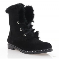 Ботинки женские черные, замша (3076 чн. Зш (шерсть)) Roma style