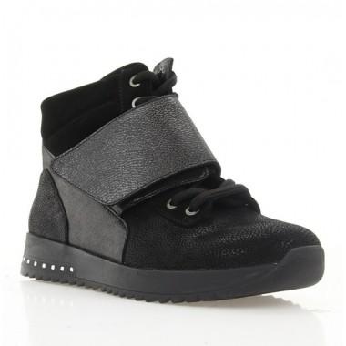 Ботинки женские черные, кожа (3080 чн. Зш (байка)) Roma style