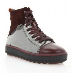 Ботинки женские бордовые/серебряные, кожа/замша (3081 борд/бронз Шк (шер)) Roma style