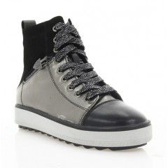 Ботинки женские черные/серебряные, кожа/замша (3081 чн/бронз Шк (шер)) Roma style