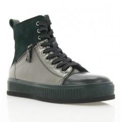 Ботинки женские зеленые, кожа/замша (3081 зелена Шк (байка)) Roma style