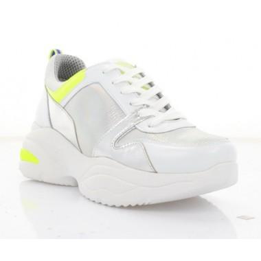 Кросівки жіночі білі/срібні/салатові, шкіра (3104-20 біл. Шк_срібн) Roma style