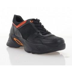 Кроссовки женские черные/оранжевые, кожа (3104-20 чн. Шк_оранж) Roma style