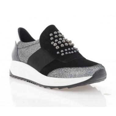 Купити Кросівки жіночі чорні/срібні, шкіра/замш (3105-20 чн. Зш+перл. Шк) Roma style за найкращими цінами