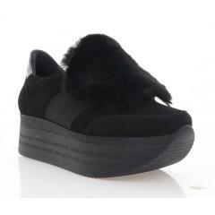 Кроссовки женские черные, замша (3105-20 чн. Зш_пух) Roma style