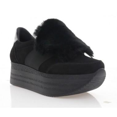 Купить Кроссовки женские черные, замша (3105-20 чн. Зш_пух) Roma style по лучшим ценам