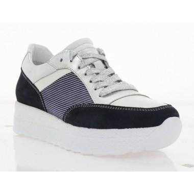 Кросівки жіночі сині/білі/срібні, шкіра/замш (3108 т.сн.Зш/біл. Шк) Roma style