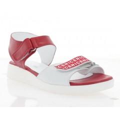 Босоніжки жіночі червоні/білі, шкіра (3111 черв. Шк) Roma style