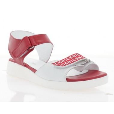 Купить Босоножки женские красные/белые, кожа (3111 черв. Шк) Roma style по лучшим ценам