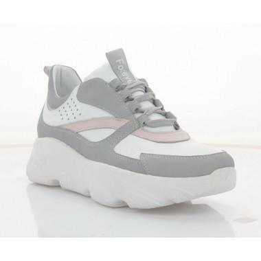 Кросівки жіночі білі/сірі/рожеві, нубук/шкіра (3113-21 біл+сір. Шк) Roma style