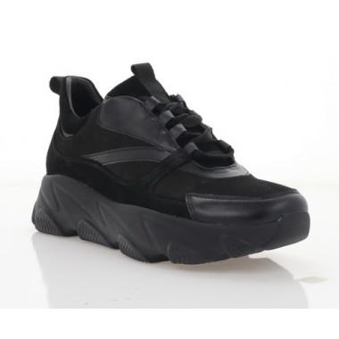 Кросівки жіночі чорні, нубук/шкіра (3113-21 чн. Шк+Нб) Roma style