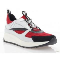 Кросівки жіночі білі/червоні, шкіра/сітка (3113 біл. Шк_черв. СТК) Roma style