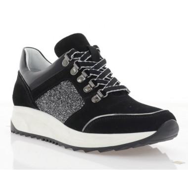 Кросівки жіночі чорні, замш/лакована шкіра (3114 чн. Зш+Лк) Roma style