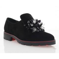 Туфлі жіночі чорні, замш (3115 чн. Зш_чн. кристали) Roma style