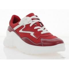 Кроссовки женские красные/белые, кожа/нубук (3121 черв. Шк_біл) Roma style