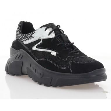 Купити Кросівки жіночі чорні/срібні, шкіра/замш (3121 чн. Зш+срібло) Roma style за найкращими цінами