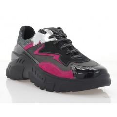 Кросівки жіночі чорні/рожеві, шкіра/замш (3121 чн. Зш_рож) Roma style