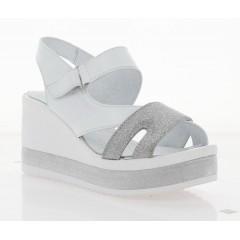 Босоножки женские белые/серебряные, кожа (3123 біло/срібн. Шк) Roma style