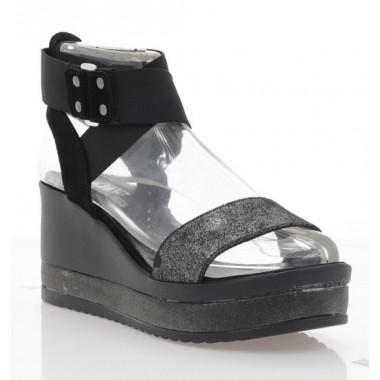 Купити Босоніжки жіночі чорні, шкіра/замш (3125 чн.перл. Шк) Roma style за найкращими цінами