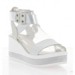 Босоножки женские белые/серебряные, кожа (3125 срібна Шк) Roma style